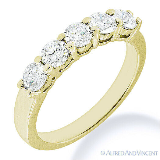 Forever ONE D-E-F Round Cut Moissanite 14k Yellow Gold 5-Stone Band Wedding Ring