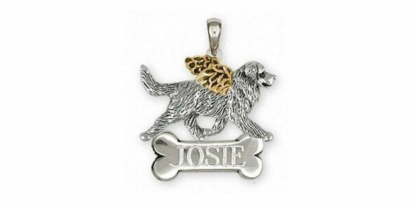 Bernese Mountain Dog Angel Pendant Jewelry Silver And 14k Gold Handmade Dog Pend