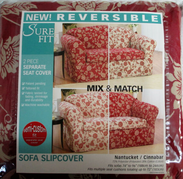 Sure Fit Reversible 74 96 in 2 Piece Sofa Slipcover Nantucket Cinnabar Floral $39.99
