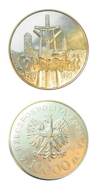 Poland Polish Pride Solidarity Coin 10000 Zlotych 1990 Uncirculated