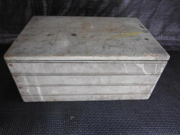 Antique Wood STORAGE BOX Footlocker Wooden Rustic Decor Side Handles Old Vtg