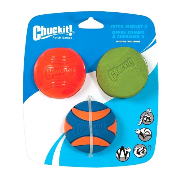 Chuckit Fetch Medley Strato Erratic Squeaker Ball Dog Puppy Toys Medium 3 Pack