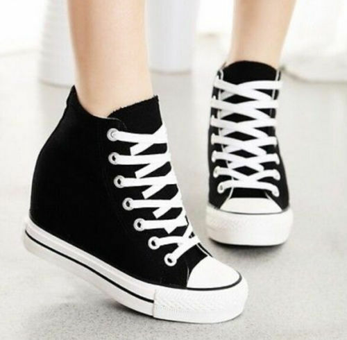 Womens Wedge Canvas High-Top Lace Up Platform Sneakers Trainers Shoes yooocart