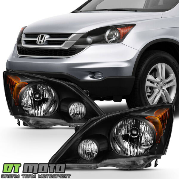 Blk For 2007 2008 2009 2010 2011 Honda CR V CRV Headlights Headlamps LeftRight