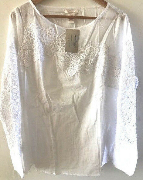 SUNDANCE CATALOG Cascadia Blooms White Cotton Lace Blouse SMALL MEDIUM LARGE NWT