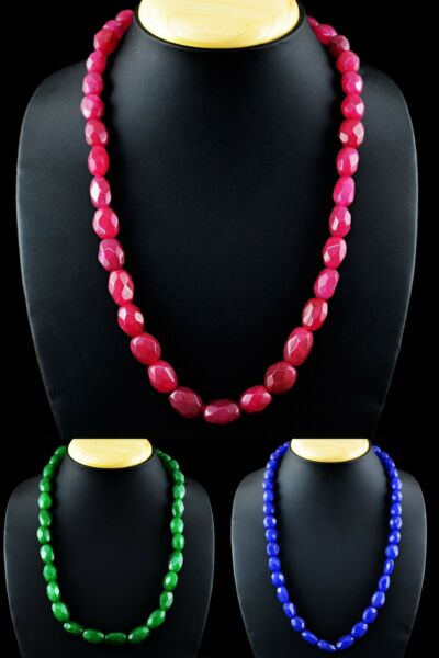 Ruby Emerald & Sapphire Earth Mined Oval Shape Faceted Beads Handmade Necklace