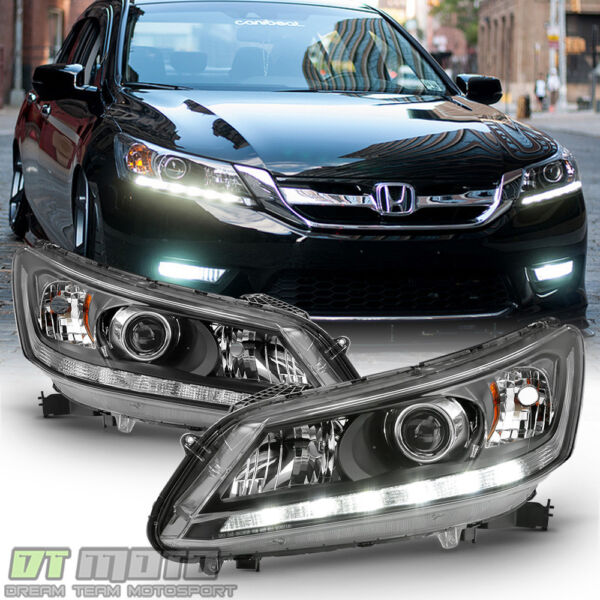 For 2013 2014 2015 Honda Accord Sedan Halogen w LED DRL Headlights Headlamps