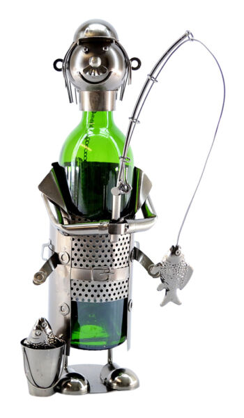 Wine Bodies Happy Fisherman with Pail Full of Fish Wine Bottle Holder Character