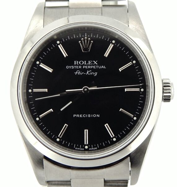 Rolex Air King Mens Stainless Steel Watch Oyster Band Black Precision Dial 14000