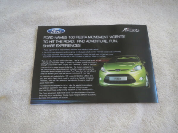 2009 FORD FIESTA MODEL INTRODUCTION PRESS RELEASE KIT BROCHURE WITH CD-ROM