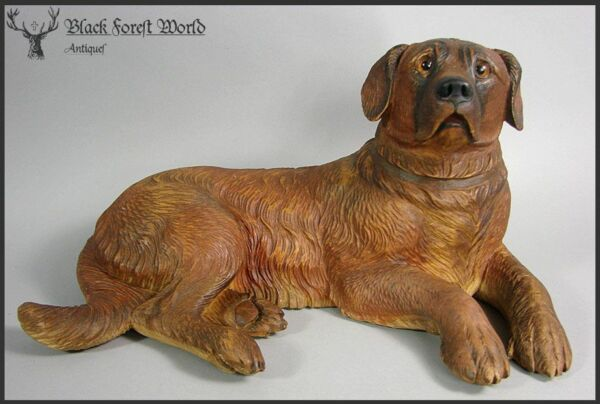 black forest carved wood dog handcarved 1880-1920