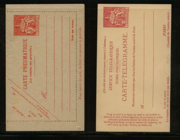 France Pneumatique letter card and Telegramme card unused MS0217