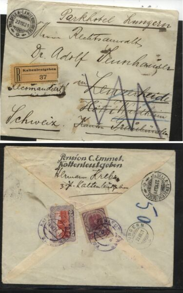 Austria   Kaltenlentgebren  1921  registered cover to Switzerland        MS0210