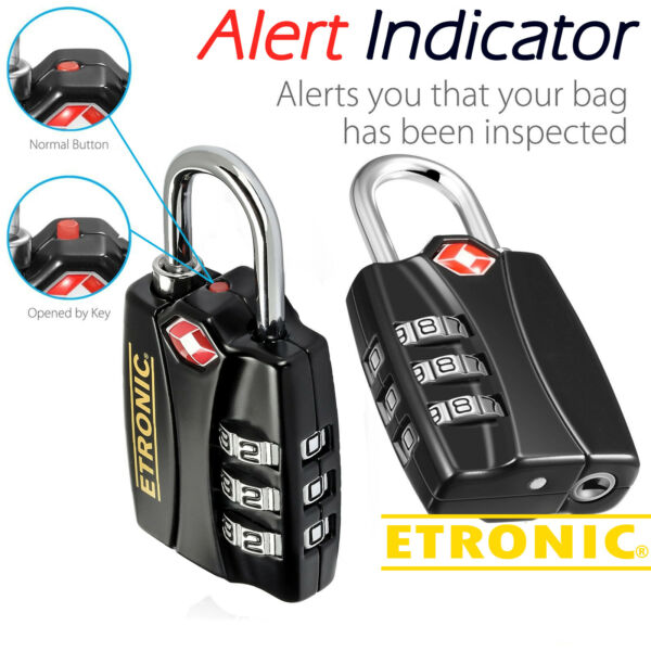 TSA Resettable 3 Digit Combination Travel Luggage Lock by Etronic Set of 4 $18.99