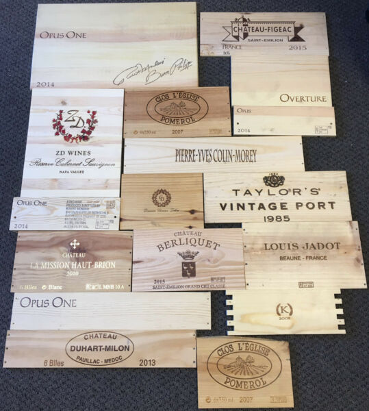 17 Wooden Wine Box End Panels from Wine Crates for Decoration Rare Wines Lot 9