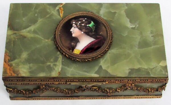 FABULOUS 1890's FRENCH GREEN STONE & BRONZE DORE PORCELAIN CAMEO JEWELRY BOX
