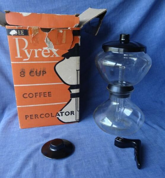 RARE Vintage Pyrex Glass Vacuum Coffee Percolator Maker Stove Top Original Box