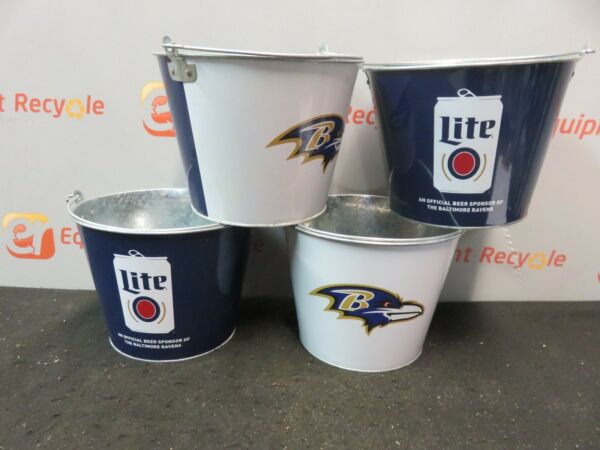 Ravens Football Miller Lite Beer Bucket Party Pail Bar Man Cave Lot of 4