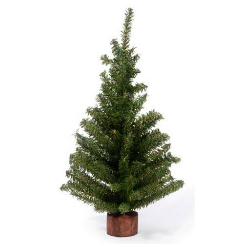 Darice Artificial Canadian Pine Tree with Wood Base 12 inch Tabletop 60 tips