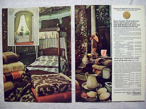 1978 Magazine Advertisement Page Sears Bedroom Furniture Towels Woman 2 PG Ad $10.99