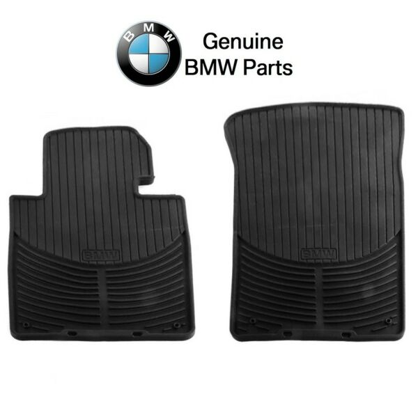 NEW For BMW E46 3 Series Front Black Rubber All Weather Floor Mats Genuine