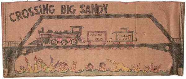Crossing Big Sandy: on cardboard by Outsider Artist Lewis Smith (deceased).