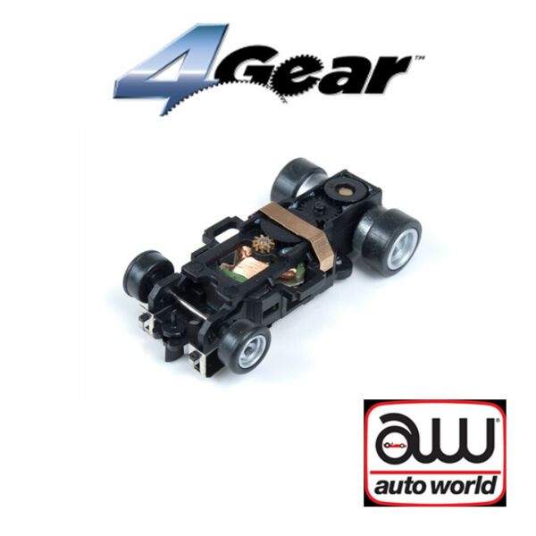 Auto World 4Gear Complete Chassis 1 Pk : 1:64 HO Scale Slot Car
