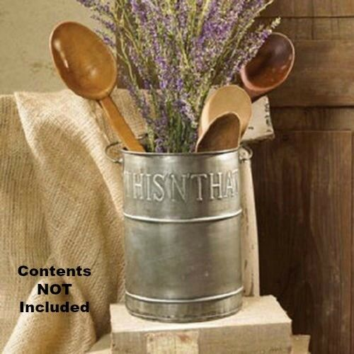 New Primitive Farmhouse Chic Metal THIS N THAT Utensil Holder Crock Bucket Pail