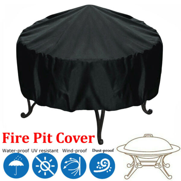 Patio Round Fire Pit Cover UV Waterproof Protection 44'' Black Outdoor Grill BBQ