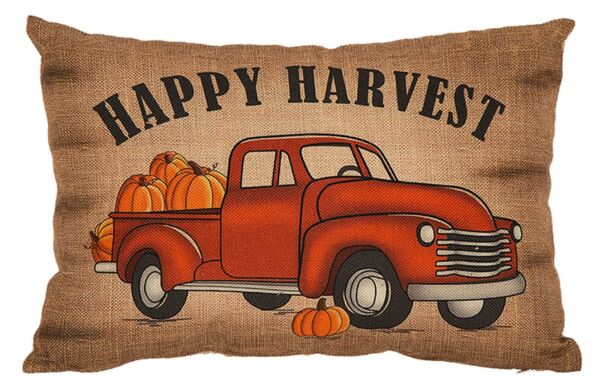 'Happy Harvest' Burlap Throw Pillow Red Truck wPumpkins Autumn Fall Home Decor