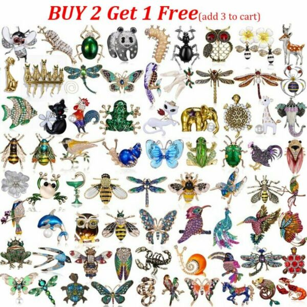 Wholesale Wedding Bridal Crystal Pearl Animal Butterfly Dragonfly Cat Brooch Pin