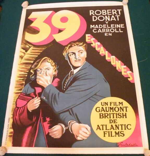 The 39 Thirty Nine  Steps (1935) Hitchcock Donat Movie Poster Stone Litho Linen