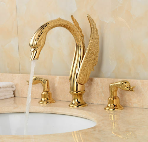 3PCS Gold Swan Style Bathroom Basin Mixer Taps Deck Mounted Bathtub Faucet