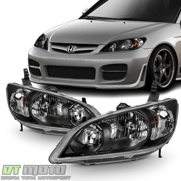 For 2004 2005 Honda Civic 2 4 Door Headlights JDM Black Headlamps Set LeftRight