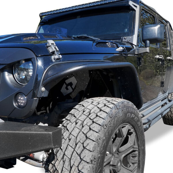 For 2007-2018 Jeep Wrangler JK JKU Steel Tube Textured Style Fender Flares