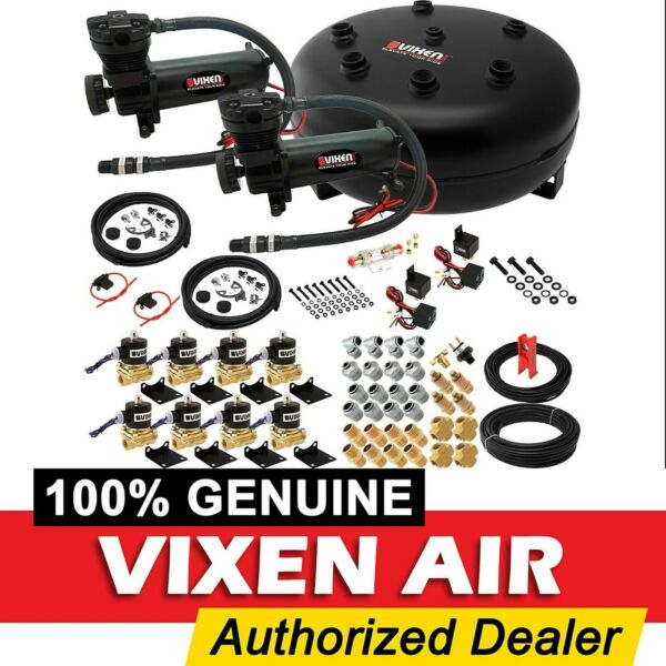 Air Suspension Kit/System for Truck/Car Bag/Ride/Lift Dual Compressor, 4G Tank