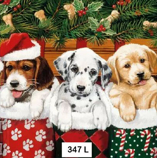 347 TWO Individual Paper Luncheon Decoupage Napkins CHRISTMAS DOGS STOCKINGS $1.98