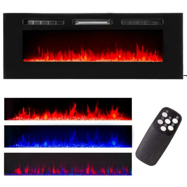 60quot; Contemporary Electric Fireplace Wall Mounted Heater Multicolor Flame Remote