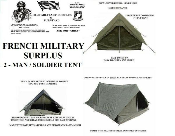 NEW French Military Surplus 2 Man F1 Pup Tent Backpacking Shelter Integral Fly