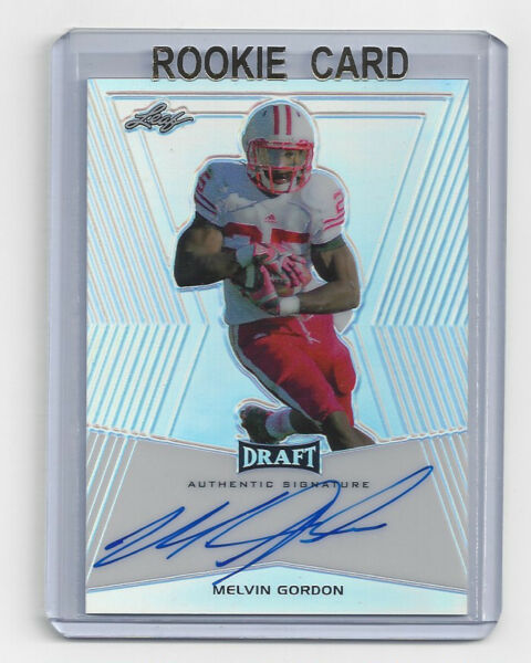 WISCONSIN Melvin Gordon signed Rookie Card 2014 Leaf Draft AUTO Autographed RC