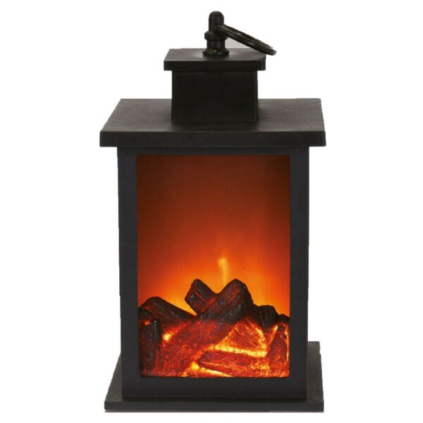 LED Fireplace Lantern Flamless Log Fire Effect Vintage Lamp Christmas Home Decor
