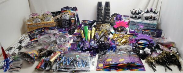 New Year's Eve Party 538 Piece Lot Hats Tiara Noisemakers Light Ups Banners More
