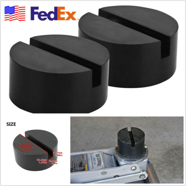 2 X Black Car Vehicle Slotted Frame Rail Floor Jack Rubber Pad Adapters US Stock