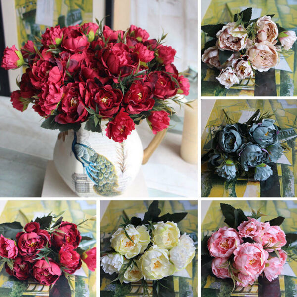Artificial Peony Flower For Wedding Party Home Decor Fake Flowers Bridal Bouquet