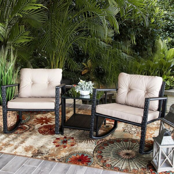 3 PC Rocker Rattan Wicker Furniture Table Chair Sofa Cushioned Patio Outdoor $189.95