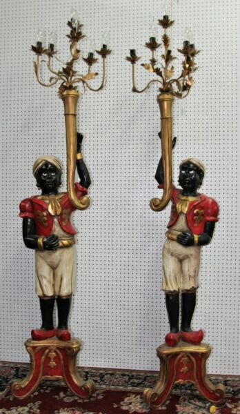 Antique Italian Blackamoors Hand Carved Wood Torchere Candelabra Statues