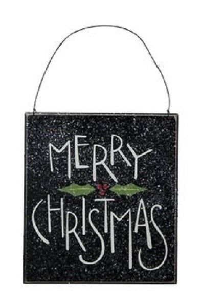 Black Primitive Wood Ornament Sign~MERRY CHRISTMAS WITH HOLLY~TreeWreathPlaque