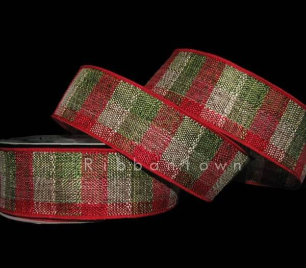 10 Yards Christmas Red Green Beige Country Plaid Burlap Like Wired Ribbon 1 1 2quot;