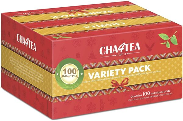 Cha4TEA K Cups Tea Variety Sampler Pack Keurig K-Cup Brewers Multi 100-Count