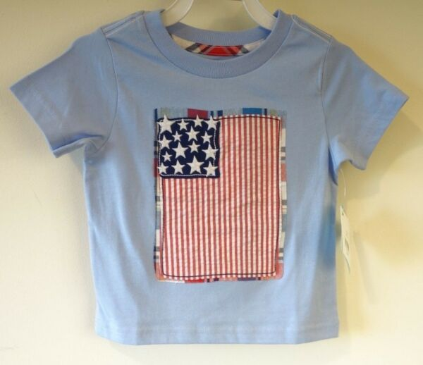New With Tags Nursery Rhyme Blue Appliqued Flag Shirt Boy's Size 12 Month